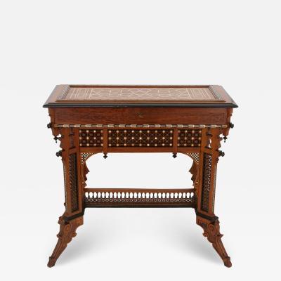 Moorish style Syrian walnut ivory ebony and mother of pearl dressing table