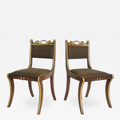 Morel Hughes Pair of English Regency Side Chairs attributed to Morel Hughes