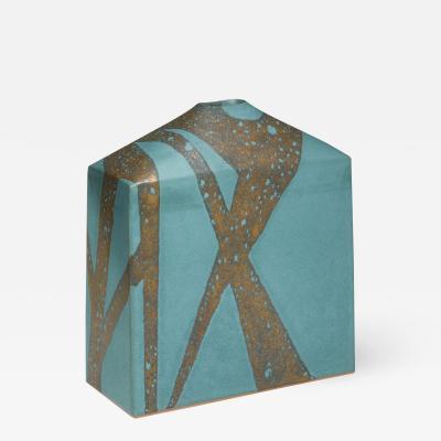 Morino Taimei Turquoise blue glazed vessel