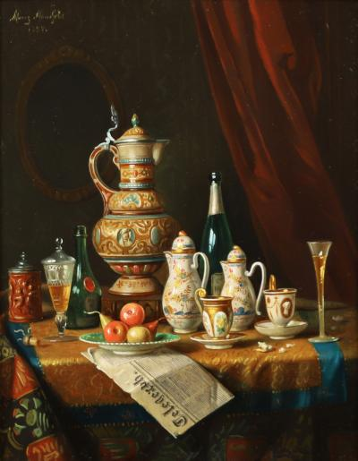 Moritz Mansfield TABLE TOP STILL LIFE WITH URN TEA SERVICE AND VARIOUS ARTICLES