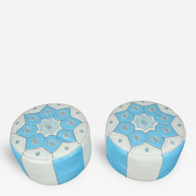 Moroccan Blue and White Hand Stitched Leather Poufs