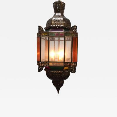 Moroccan Brass Light Fixture with Amber Colored Stained Glass