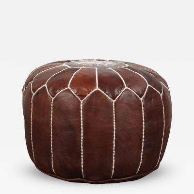 Moroccan Brown Leather Pouf