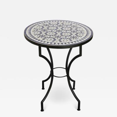 Moroccan Fez Mosaic Blue and White Tiles Bistro Table