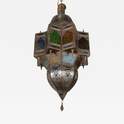 Moroccan Glass Pendant in Star Shape