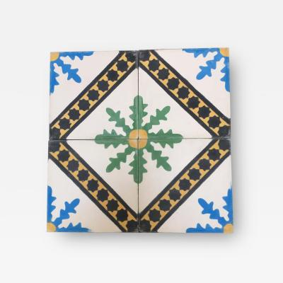 Moroccan Hand Painted Cement Tile with Traditional Fez Design