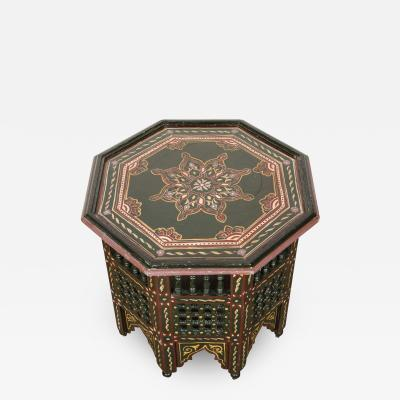 Moroccan Hand Painted Dark Green Side Table