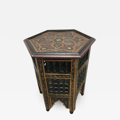 Moroccan Hand Painted Octagonal Green Side Table with Moorish Designs