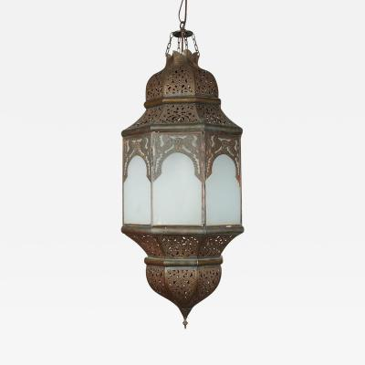 Moroccan Hanging Lantern with Milky Glass