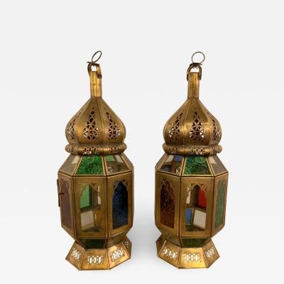 Moroccan Lanterns in Brass with Multicolored Glass a Pair
