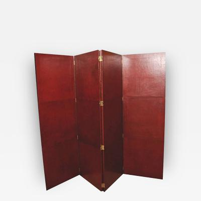 Moroccan Leather Four Panel Screen