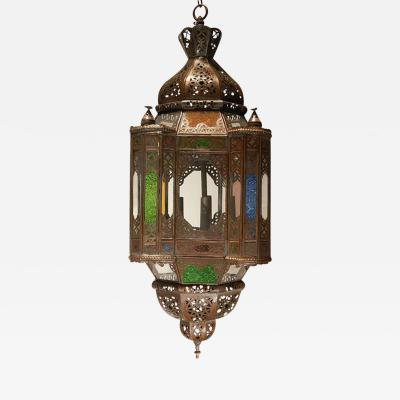 Moroccan Light Fixture with Colored Glass