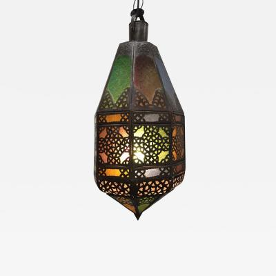 Moroccan Light Fixture with Colored Glass and Metal Openwork Moorish Designs