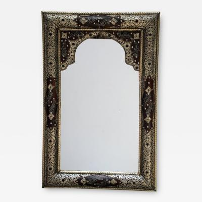 Moroccan Mirror with Silver Filigree and Repousse Metal