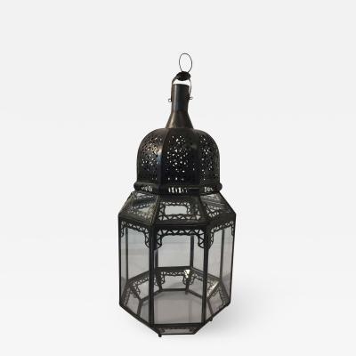 Moroccan Moorish Octagonal Metal and Glass Candle Lantern