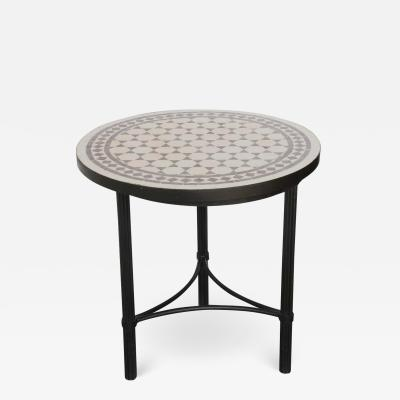 Moroccan Mosaic Fez Tiles Brown and White Colors Side Table