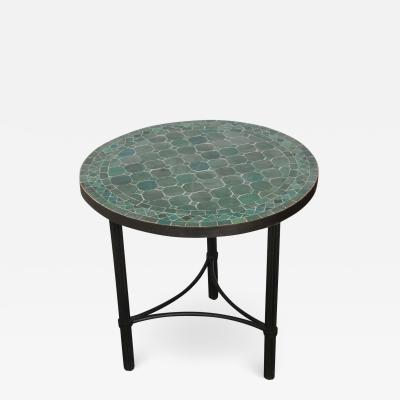Moroccan Mosaic Fez Tiles Green Colors Side Table