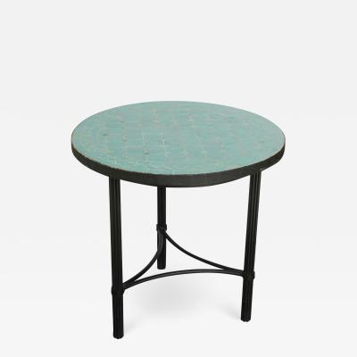Moroccan Mosaic Tiles Teal Color Side Table