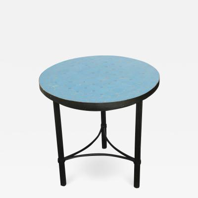 Moroccan Mosaic Tiles Turquoise Blue Color Side Table