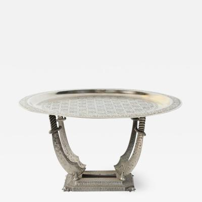 Moroccan Silvered Hand Crafted Tray Table with Metal Stand