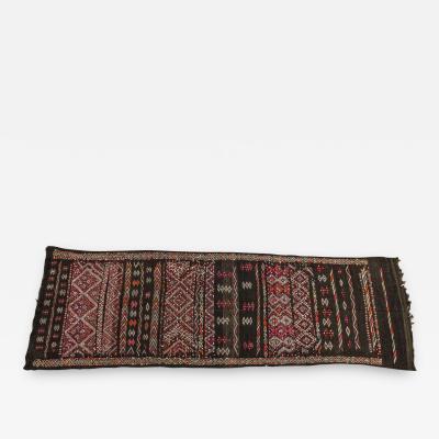 Moroccan Tuareg Vintage Black Runner Rug