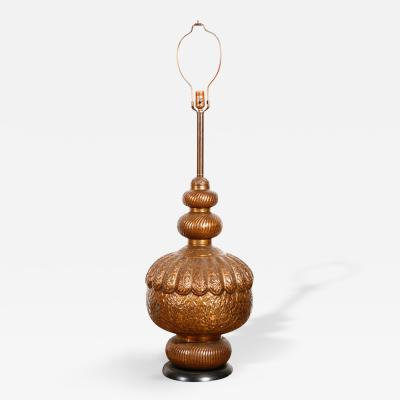 Moroccan Vintage Brass Embossed Table Lamp