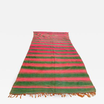 Moroccan Vintage Flat Weave Rug Pink and Green