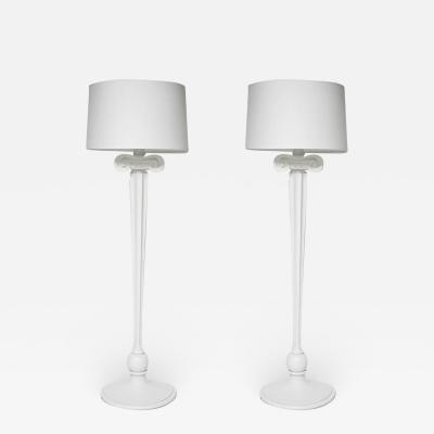 Morris Lapidus Pair of Hollywood Regency White Floor Lamps from the Eden Roc Hotel