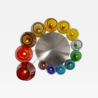 Morris Lapidus Pair of Rainbow Spiral Glass Chandeliers by Morris Lapidus