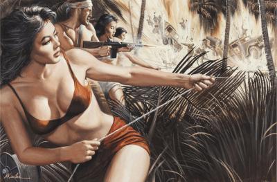 Morton Kunstler G I Tiger Bandit of Saipan Combat with Bikini Women and Explosions