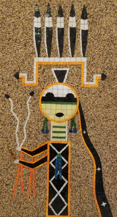Mosaic Art Work Based on Navajo Sand Painting of their Diety Father Sky