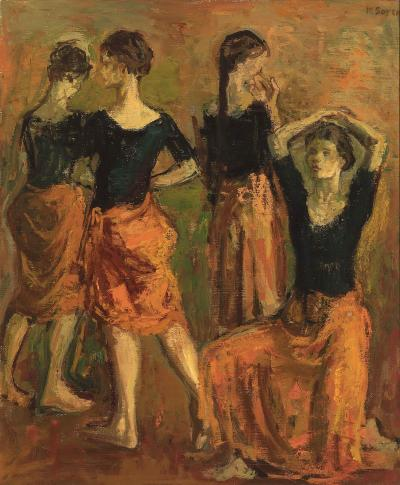 Moses Soyer Four Dancers in Orange