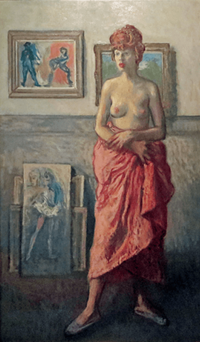 Moses Soyer Partially Draped Female Nude in the Artists Studio