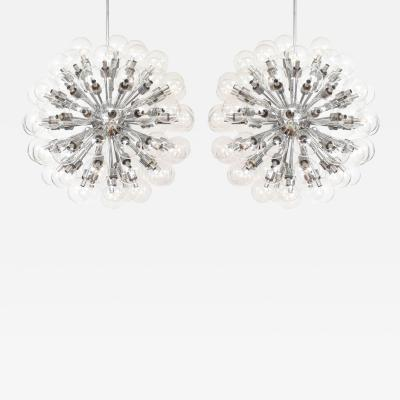 Motoko Ishii Pair of Monumental Polished Chrome Sputnik Chandeliers by Motoko Ishii