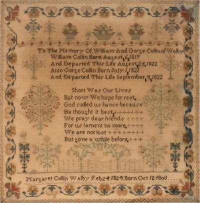 Mourning Sampler Dated 1824 in Black Frame English Circa 1824