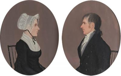 Mr Boyds PAIR OF PORTRAITS OF CIVIL WAR GENERAL AND MRS GEORGE THOMAS