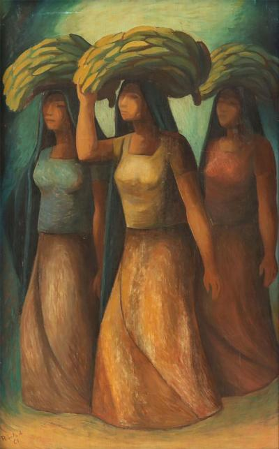 Mujeres Vendedoras oil on board by Rosendo Soto