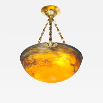 Muller Fr res Art Deco Antiqued Brass and Hand Blown Mottled Glass Chandelier by Muller Fr res
