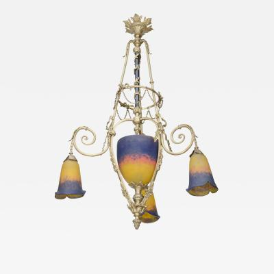 Muller Fr res Exquisite Art Deco Bronze and Art Glass Chandelier by Muller Freres