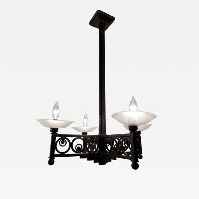 Muller Fr res French Art Deco Wrought Iron and Glass Chandelier