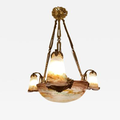 Muller Fr res Muller Freres French Art Deco Chandelier