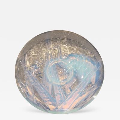 Muller Fr res Muller Freres Luneville Hunters Elephant Opalescent Glass Plate