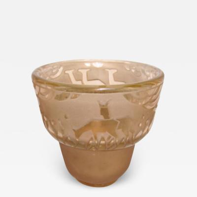 Muller Fr res Signed M ller Fr res Luneville 1930s Art Deco Glass Vase