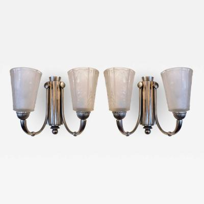 Muller Fr res Stunning Pair of Art Deco Wall Sconces Signed Muller Freres Luneville