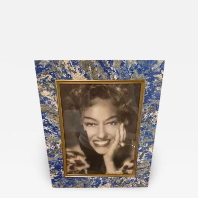 Multi color Photo Frame with lapis lazuli inserts and brass plated Italy 1960