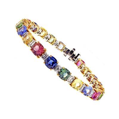 Multicolored Sapphire and Diamond Bracelet