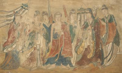 Mural Painting of Buddha Flanked by Female Attendants