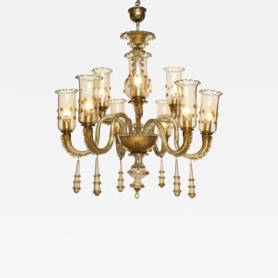Murano Champagne Glass Nine Arm Chandelier