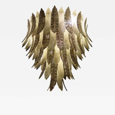 Murano Chandelier with Silver and Brown Leaves Italy 1980s