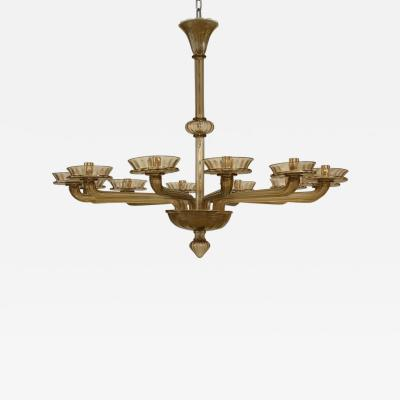 Murano Fume Fulva Glass 12 Light Chandelier